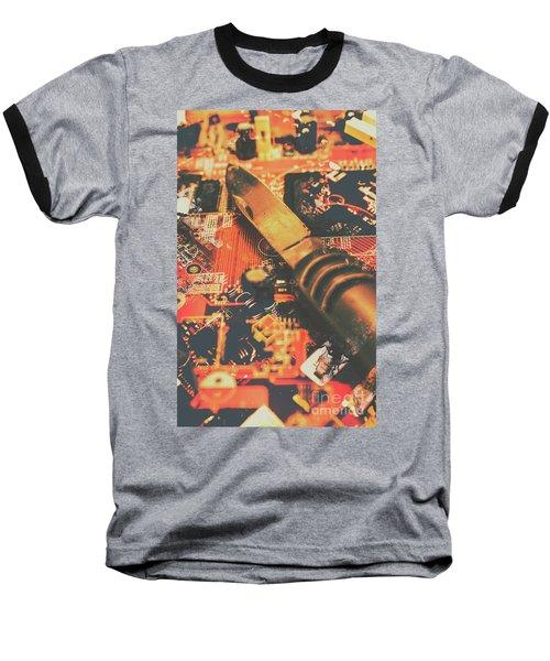 Hacking Knife On Circuit Board Baseball T-Shirt