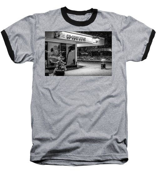 Hale Barns Co-op In The Snow Baseball T-Shirt