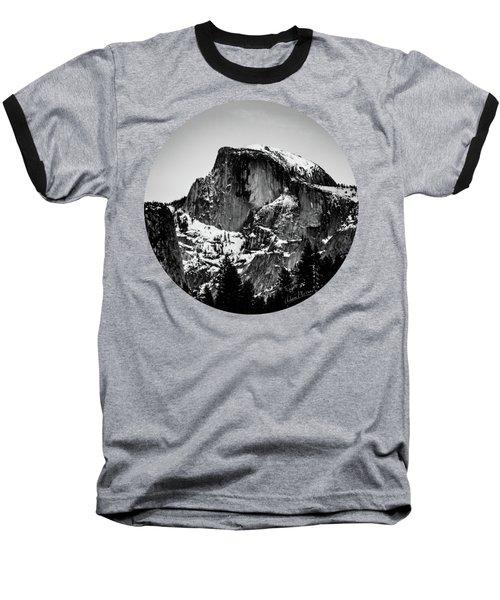 Half Dome Aglow, Black And White Baseball T-Shirt