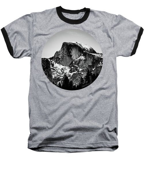 Half Dome Aglow, Black And White Baseball T-Shirt