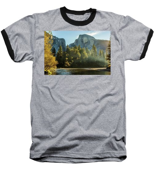 Half Dome And Merced River Autumn Sunrise Baseball T-Shirt