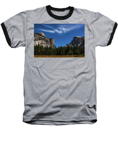 Half Dome And Moonlight - Yosemite Baseball T-Shirt