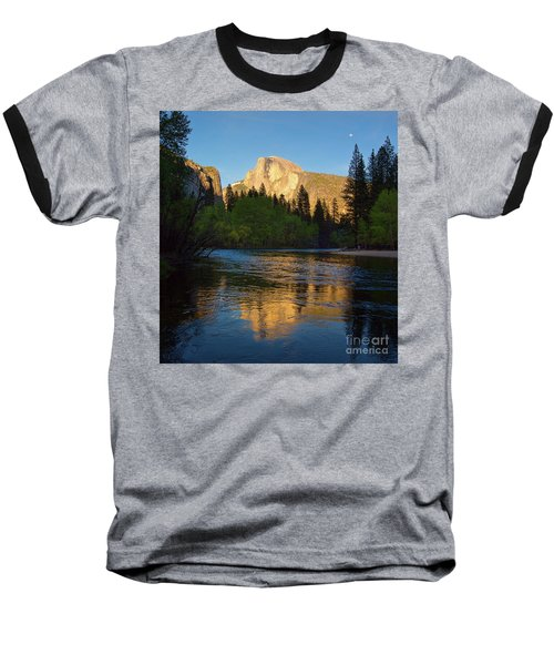 Half Dome And The Merced River With The Moon Baseball T-Shirt