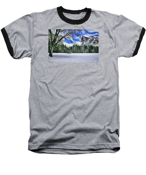 Half Dome In The Snow Baseball T-Shirt