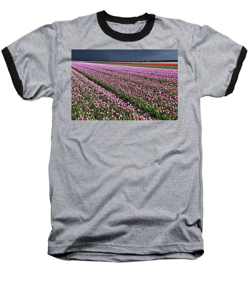 Half Side Purple Tulip Field Baseball T-Shirt by Mihaela Pater