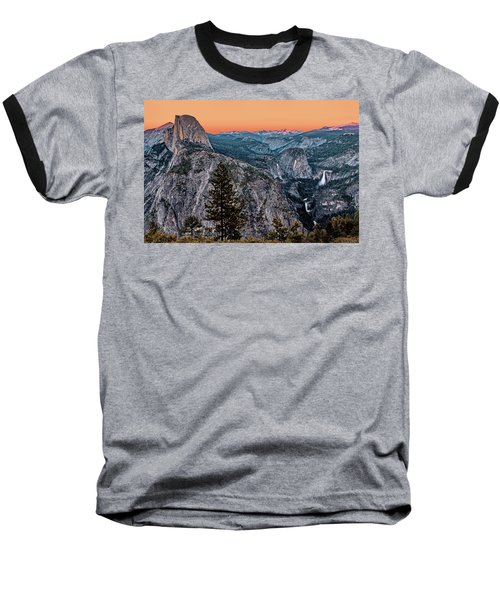 Halfdome And The Waterfalls At Sunset Baseball T-Shirt