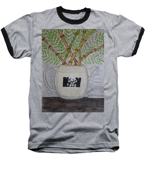 Baseball T-Shirt featuring the painting Hall China Silhouette Pitcher With Bamboo by Kathy Marrs Chandler