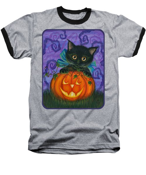 Baseball T-Shirt featuring the painting Halloween Black Kitty - Cat And Jackolantern by Carrie Hawks