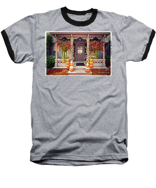 Halloween In A Small Town Baseball T-Shirt by Mary Machare
