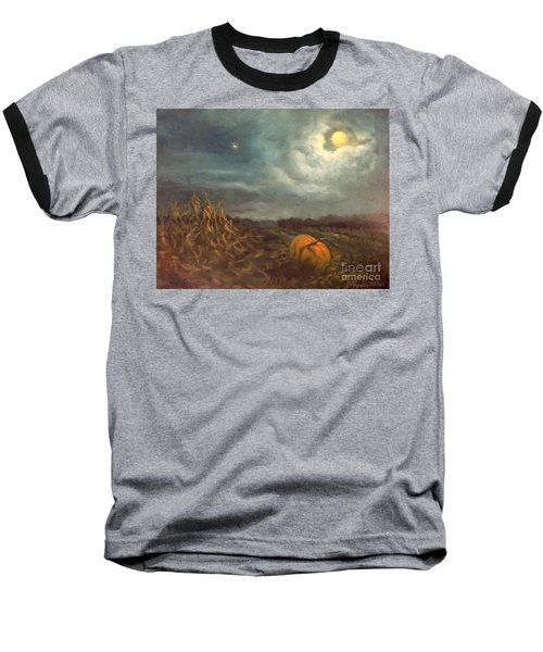 Halloween Mystery Under A Star And The Moon Baseball T-Shirt by Randy Burns