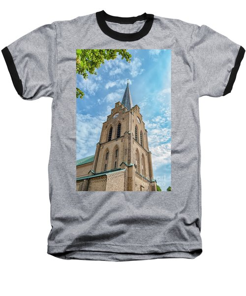 Baseball T-Shirt featuring the photograph Halmstad Church In Sweden by Antony McAulay