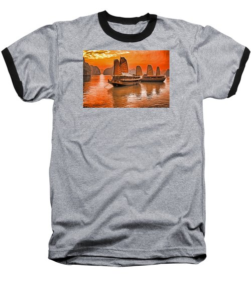 Baseball T-Shirt featuring the photograph Halong Bay Junks by Dennis Cox WorldViews