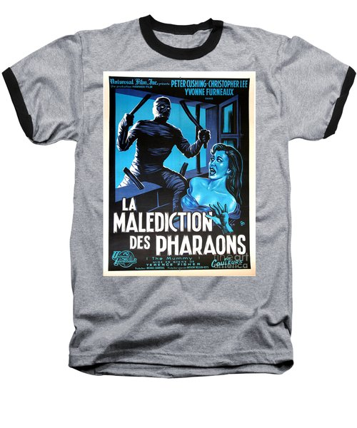 Hammer Movie Poster The Mummy La Malediction Des Pharaons Baseball T-Shirt by R Muirhead Art