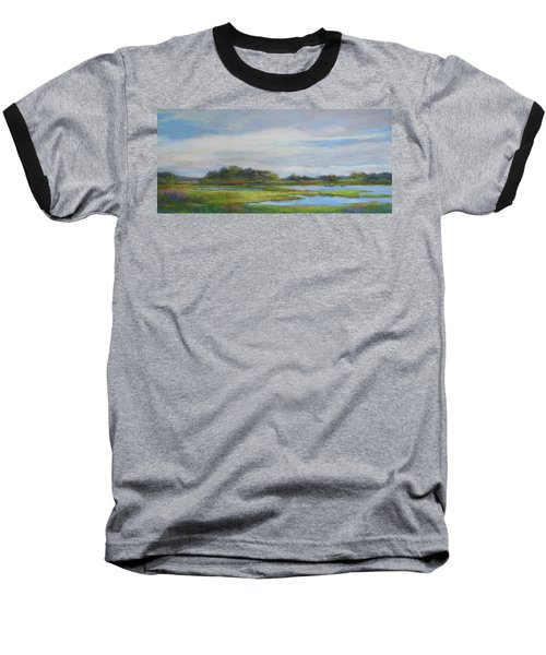 Baseball T-Shirt featuring the painting Hammonassett Sky by Vikki Bouffard