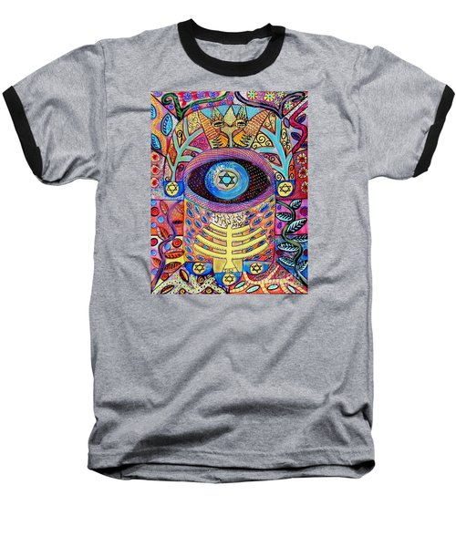 -hamsa Menorah Tree Of Life - Bright Lights  Baseball T-Shirt by Sandra Silberzweig