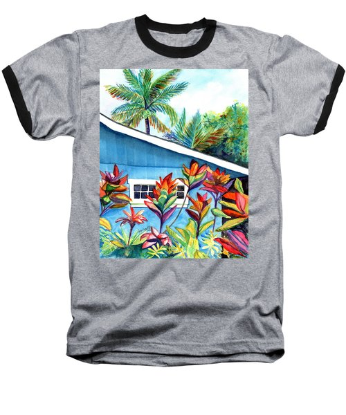 Baseball T-Shirt featuring the painting Hanalei Cottage by Marionette Taboniar