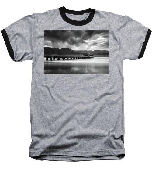 Hanalei Pier In Black And White Baseball T-Shirt
