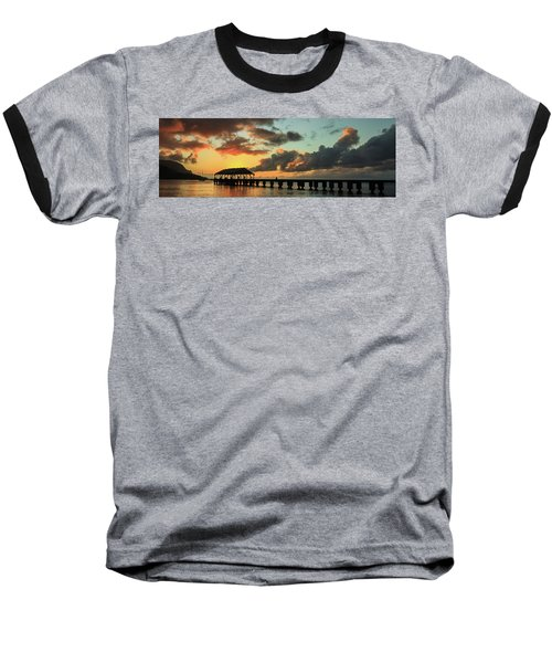 Hanalei Pier Sunset Panorama Baseball T-Shirt