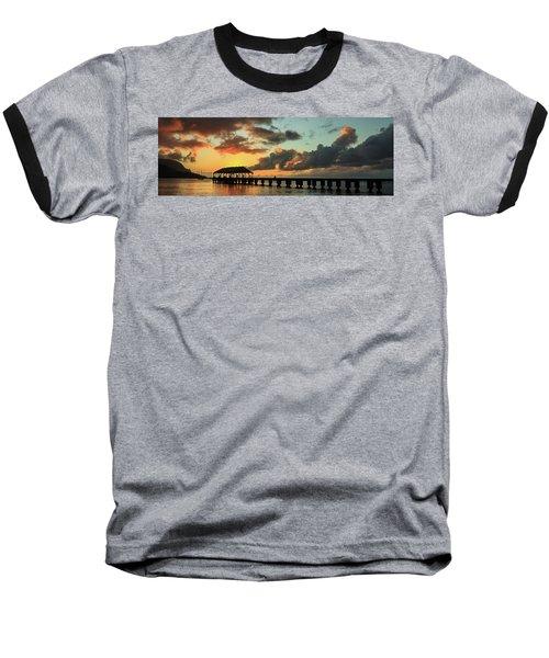 Hanalei Pier Sunset Panorama Baseball T-Shirt