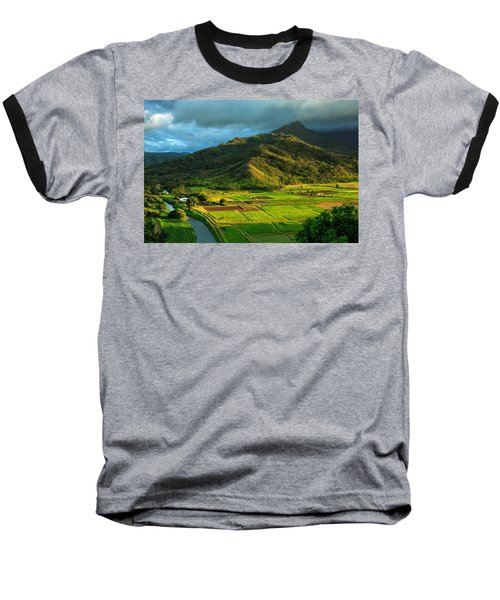 Hanalei Valley Taro Fields Baseball T-Shirt