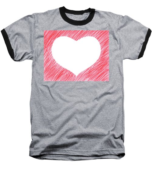 Hand-drawn Red Heart Shape Baseball T-Shirt by GoodMood Art