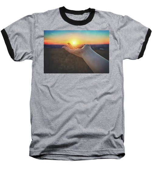 Baseball T-Shirt featuring the photograph Hand Holding Sun - Sunset At Lapham Peak - Wisconsin by Jennifer Rondinelli Reilly - Fine Art Photography