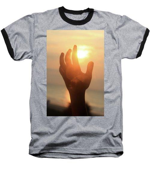 Hand Reaching Fore The Sun Baseball T-Shirt by Emanuel Tanjala