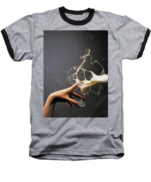 Baseball T-Shirt featuring the photograph Hand With The Flying Glass Of Liqueur by Evgeniy Lankin