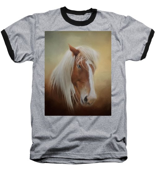 Handsome Belgian Horse Baseball T-Shirt by David and Carol Kelly