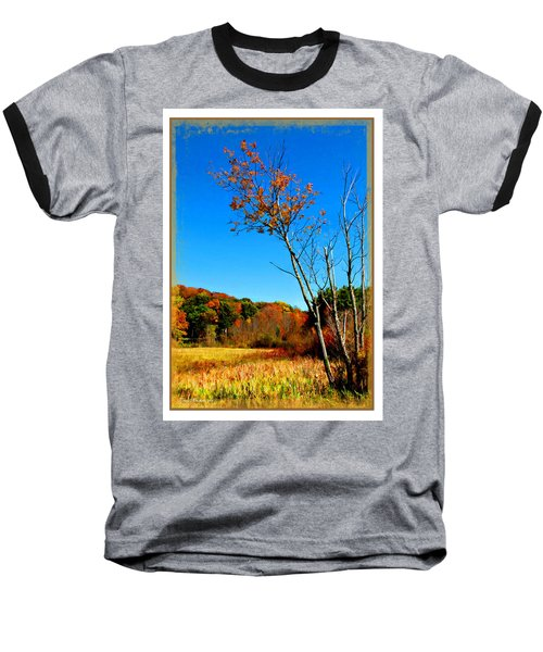 Baseball T-Shirt featuring the photograph Hanging On To Autumn by Joan  Minchak