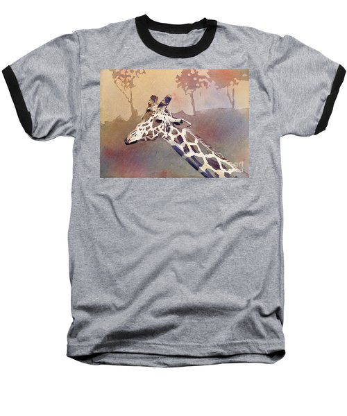 Baseball T-Shirt featuring the painting Hanging Out- Giraffe by Ryan Fox