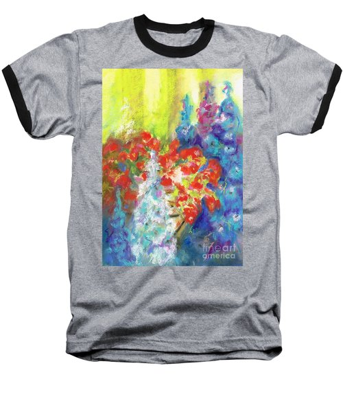 Hanging With The Delphiniums  Baseball T-Shirt by Frances Marino