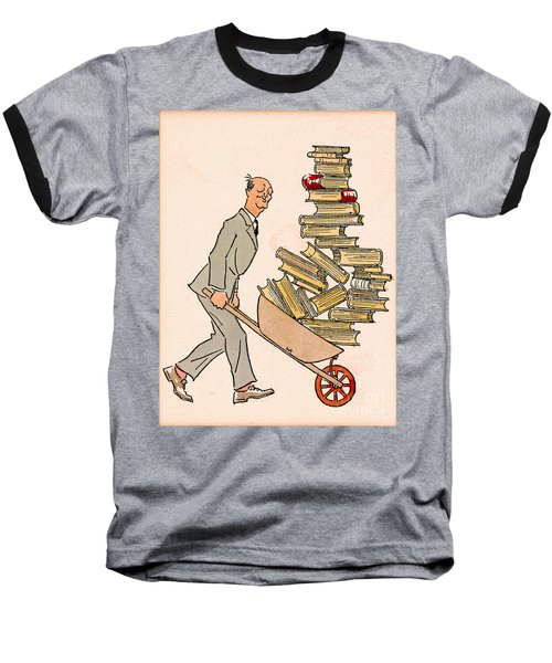Baseball T-Shirt featuring the drawing Happy Bibliophile 1930 by Padre Art