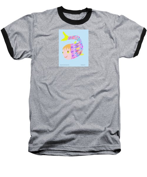 Happy Clown Fish  Baseball T-Shirt by Fred Jinkins