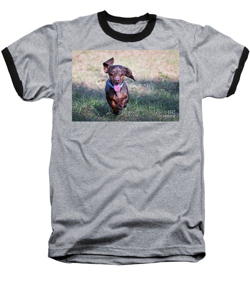 Happy Dachshund Baseball T-Shirt