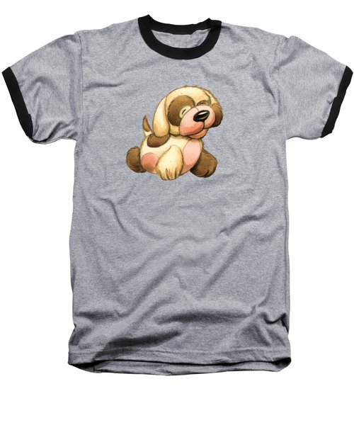 Happy Dog Baseball T-Shirt by Andy Catling