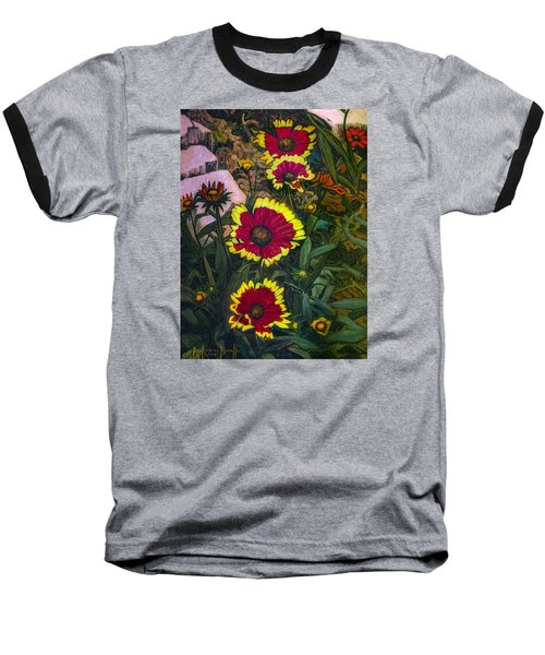 Baseball T-Shirt featuring the painting Happy Faces by Ron Richard Baviello