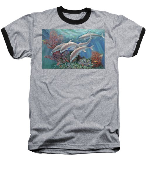 Happy Family - Dolphins Are Awesome Baseball T-Shirt