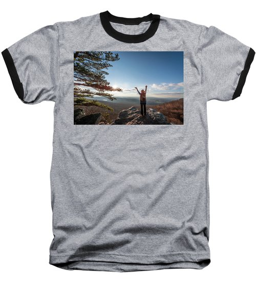 Happy Female Hiker At The Summit Of An Appalachian Mountain Baseball T-Shirt