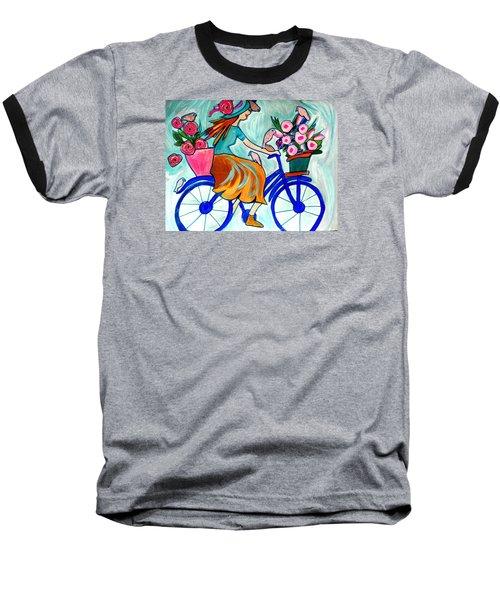 Happy Flower Lady Baseball T-Shirt