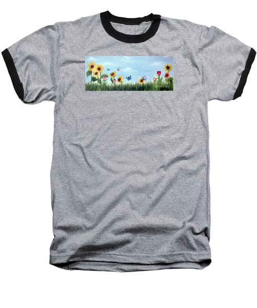 Baseball T-Shirt featuring the painting Happy Garden by Carol Sweetwood