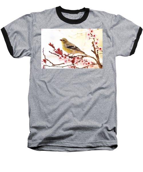 Happy Goldfinch Baseball T-Shirt by Trina Ansel