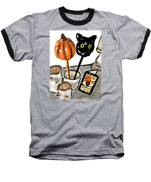 Baseball T-Shirt featuring the painting Happy Halloween by Jean Pacheco Ravinski