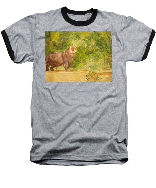 Baseball T-Shirt featuring the painting Happy Hippo by Vicki  Housel