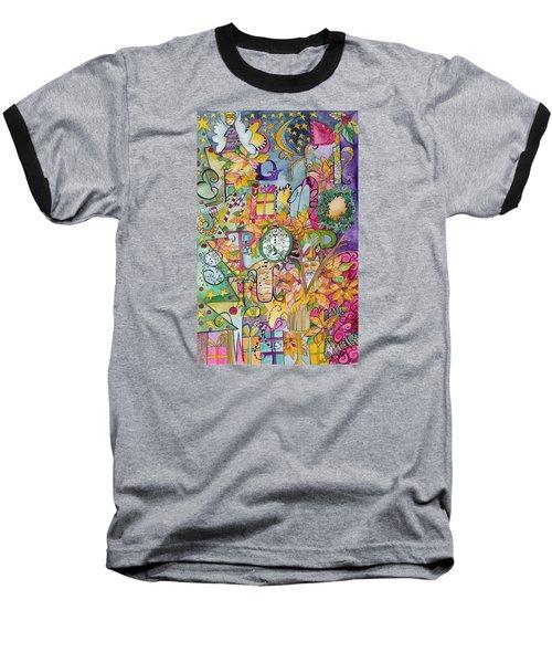 Happy Holidays Baseball T-Shirt by Claudia Cole Meek