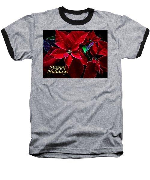 Happy Holidays Baseball T-Shirt by Sandy Keeton