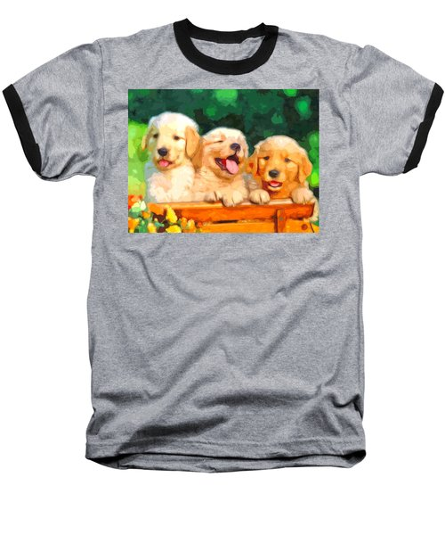 Happy Puppies Baseball T-Shirt
