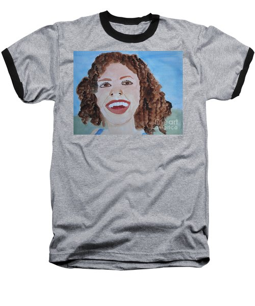 Baseball T-Shirt featuring the painting Happy by Sandy McIntire
