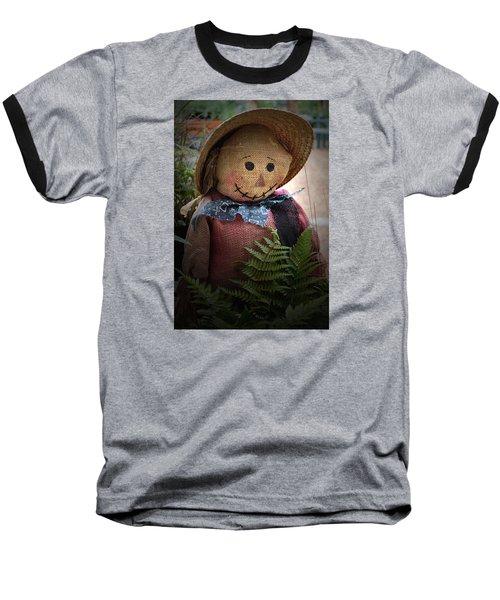 Happy Scarecrow Baseball T-Shirt by Karen Harrison
