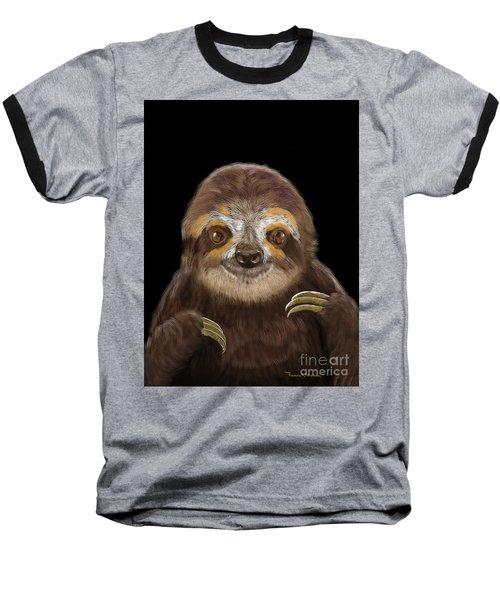 Happy Sloth Baseball T-Shirt by Thomas J Herring